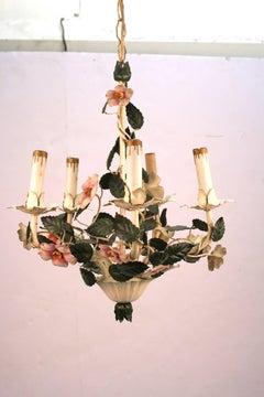 Mid-Century Toleware Floral Chandelier