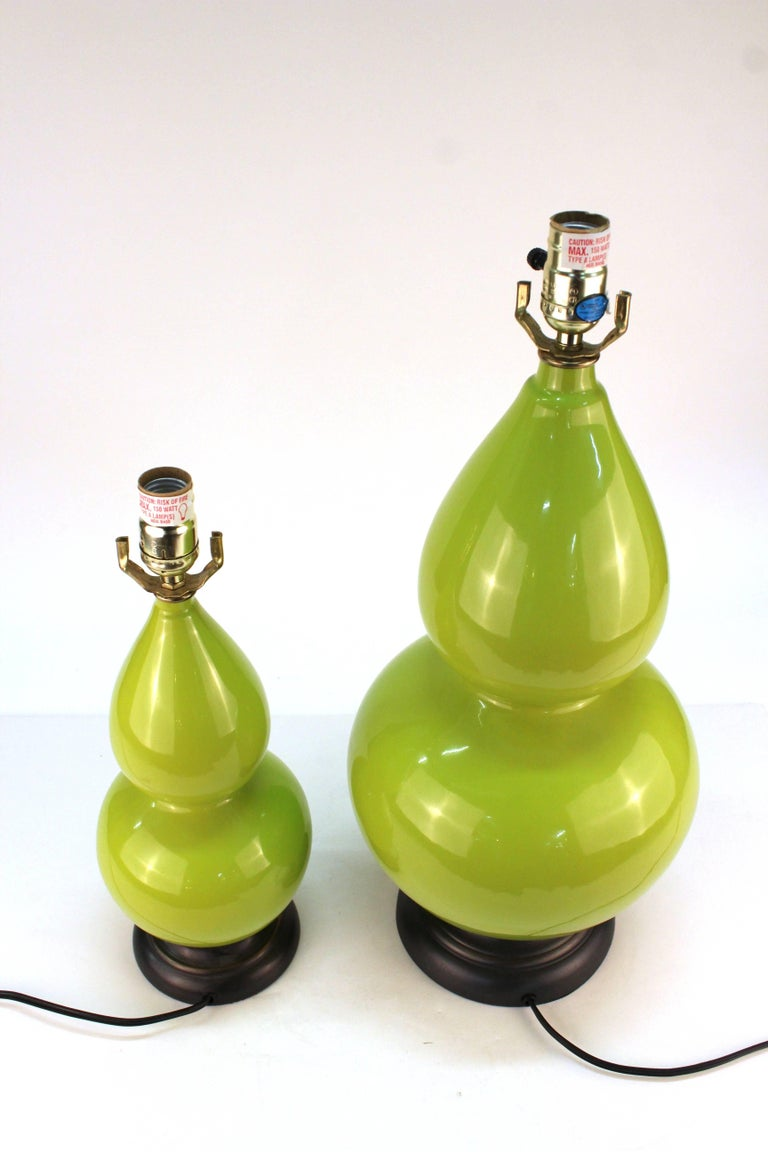 Hollywood Regency Style Light Green Table Lamps In Good Condition For Sale In New York, NY