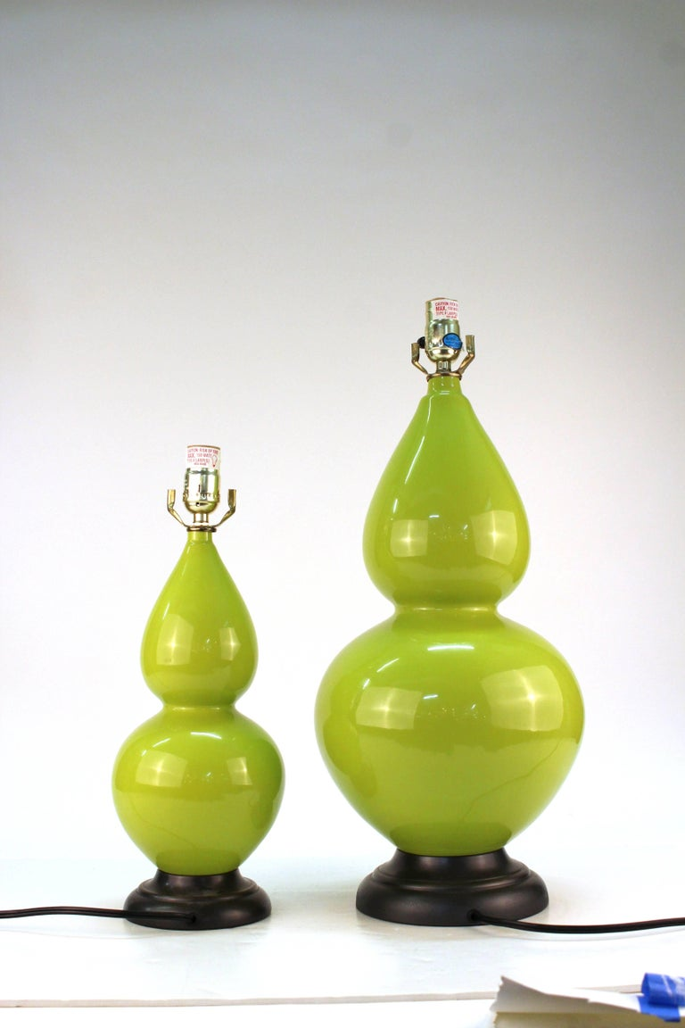 Hollywood Regency Style Light Green Table Lamps For Sale 1