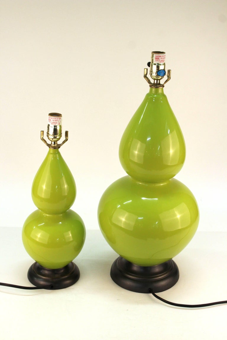 Hollywood Regency Style Light Green Table Lamps For Sale 2