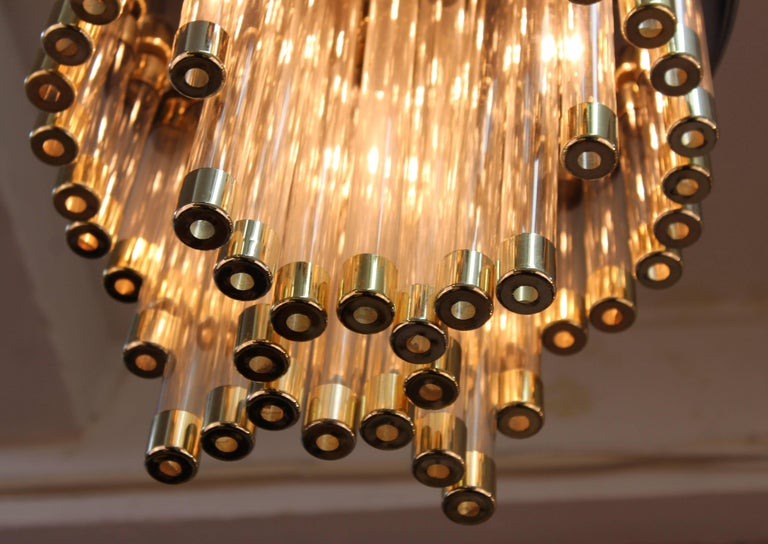 Mid-Century Modern Chrome and Glass Tube Chandelier In Good Condition For Sale In New York, NY
