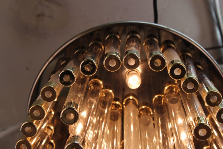 Mid-Century Modern Chrome and Glass Tube Chandelier For Sale 3