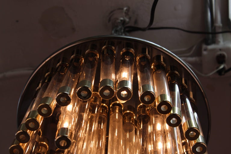 20th Century Mid-Century Modern Chrome and Glass Tube Chandelier For Sale