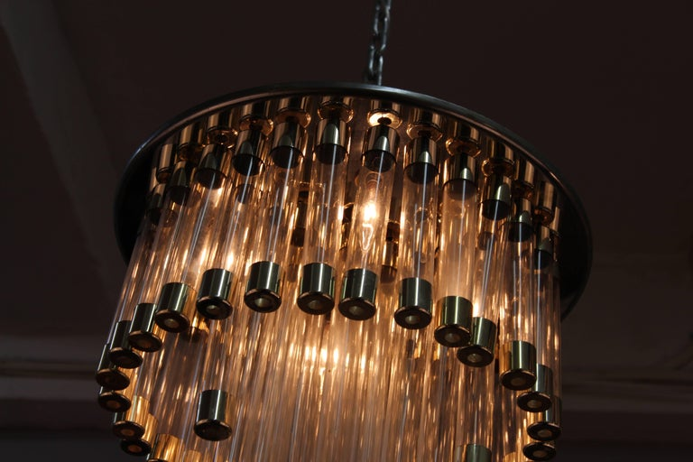 Mid-Century Modern Chrome and Glass Tube Chandelier For Sale 2