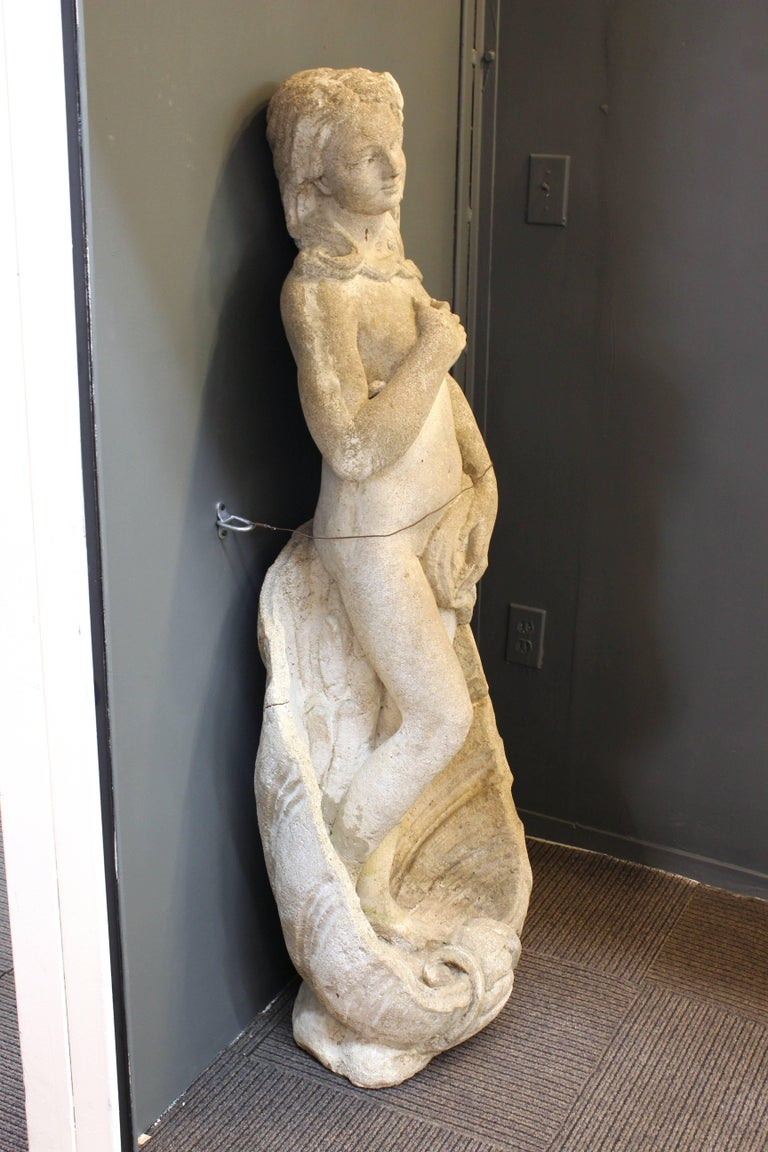 An outdoor garden statue made of cement stone, depicting Venus in a pose similar to the famed Botticelli painting 'Birth of Venus'. The piece is in good vintage condition.