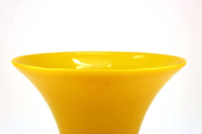Early 20th Century Chinese Peking Imperial Yellow Glass Vase For Sale