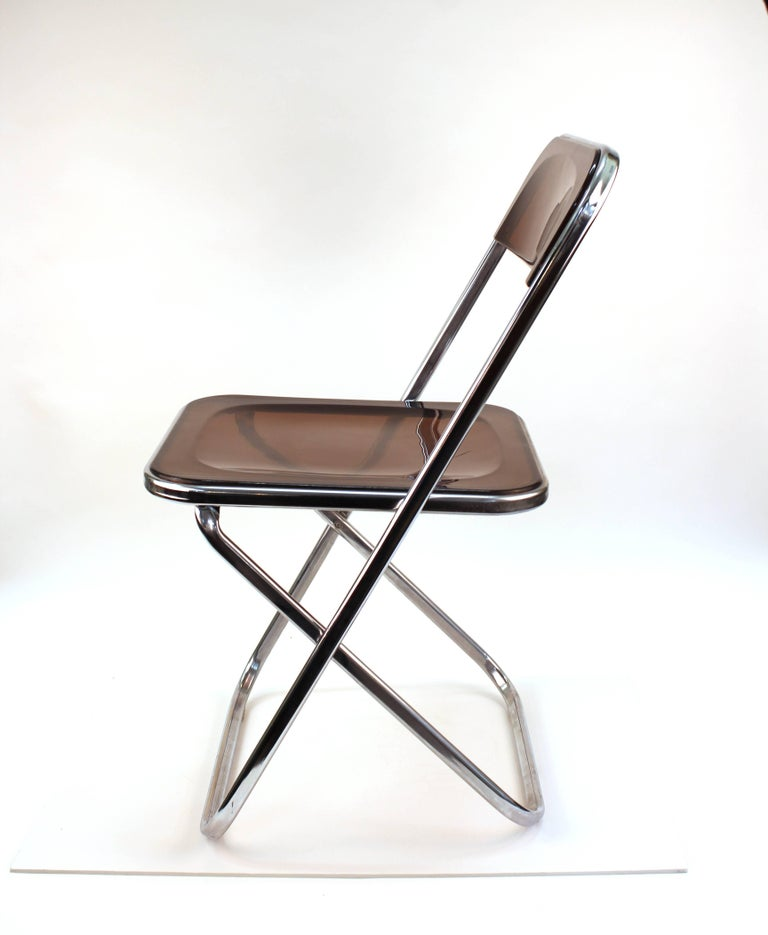 Mid-Century Modern Giancarlo Piretti Plia Style Folding Chairs in Smoked Lucite For Sale
