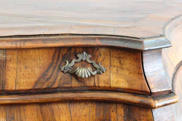 Northern Italian Rococo Manner Bombe Commode in Fruitwood For Sale 3