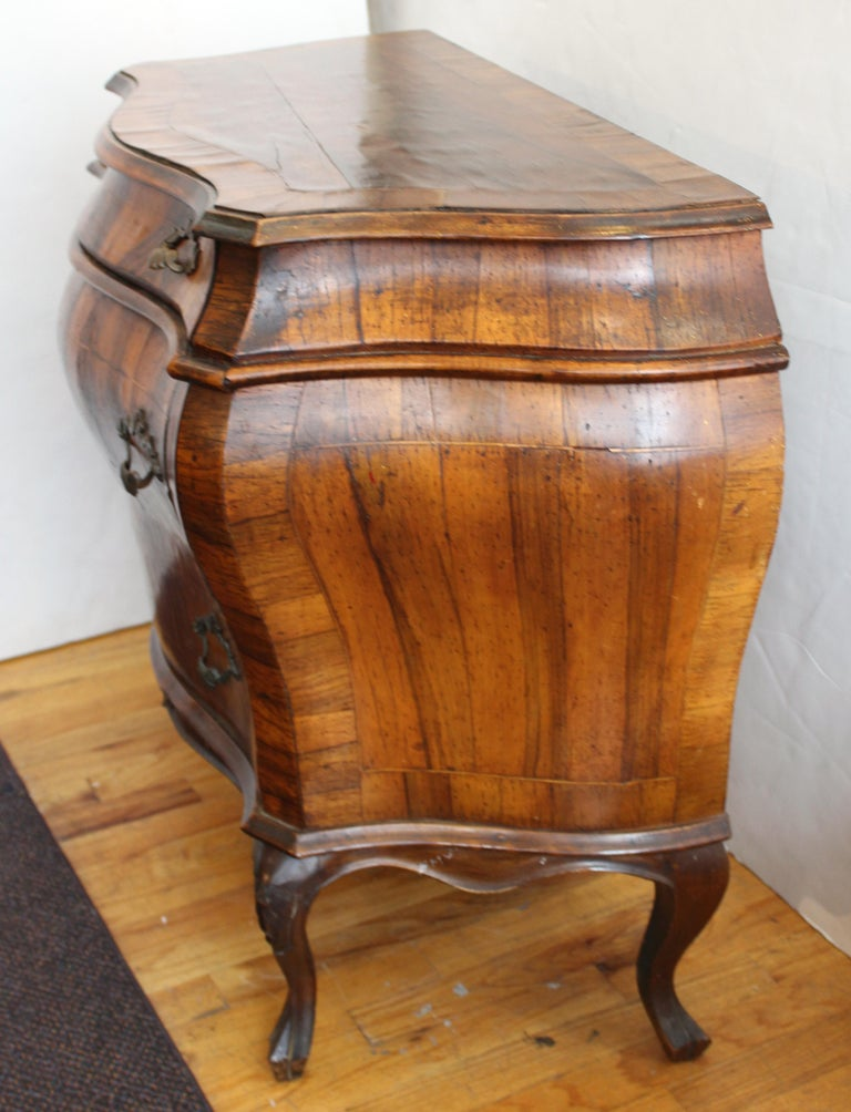 19th Century Northern Italian Rococo Manner Bombe Commode in Fruitwood For Sale