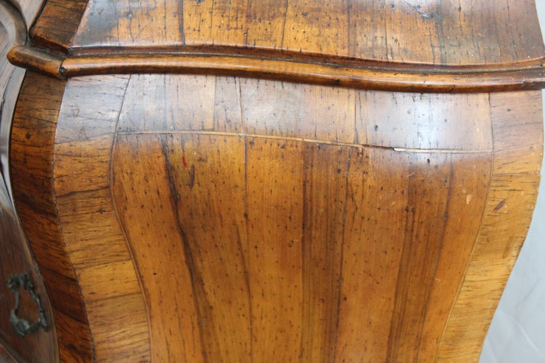 Northern Italian Rococo Manner Bombe Commode in Fruitwood For Sale 7