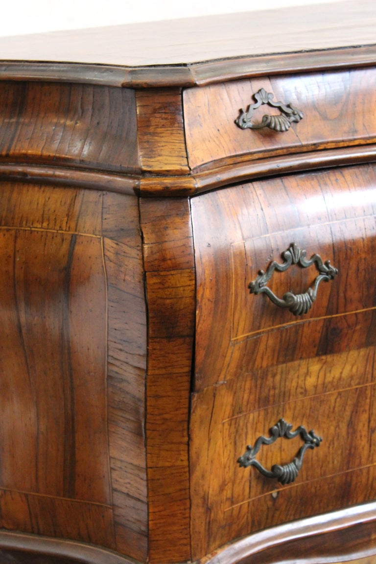 Northern Italian Rococo Manner Bombe Commode in Fruitwood For Sale 10