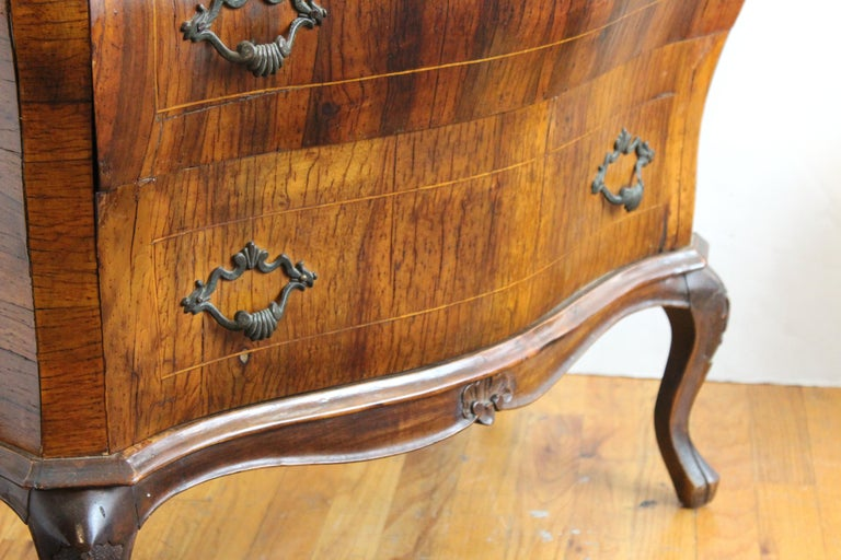 Northern Italian Rococo Manner Bombe Commode in Fruitwood For Sale 5