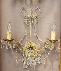 Hollywood Regency Crystal Sconces