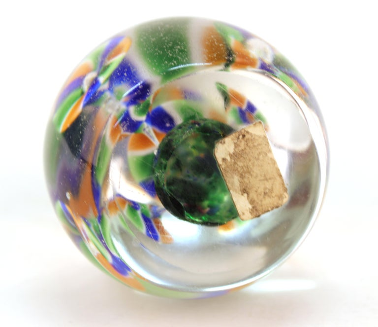 Murano Glass Italian Midcentury Murano Art Glass Paperweight with Floral Motif For Sale