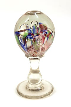 Italian Mid-Century Murano Floral Glass Sphere on Glass Stand