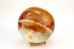 Onyx Marble Specimen Sphere on Gilt Metal Base