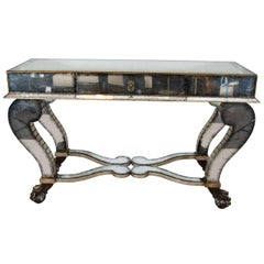 Neoclassical Style Mirrored Console on Lion Claws and Ball Feet