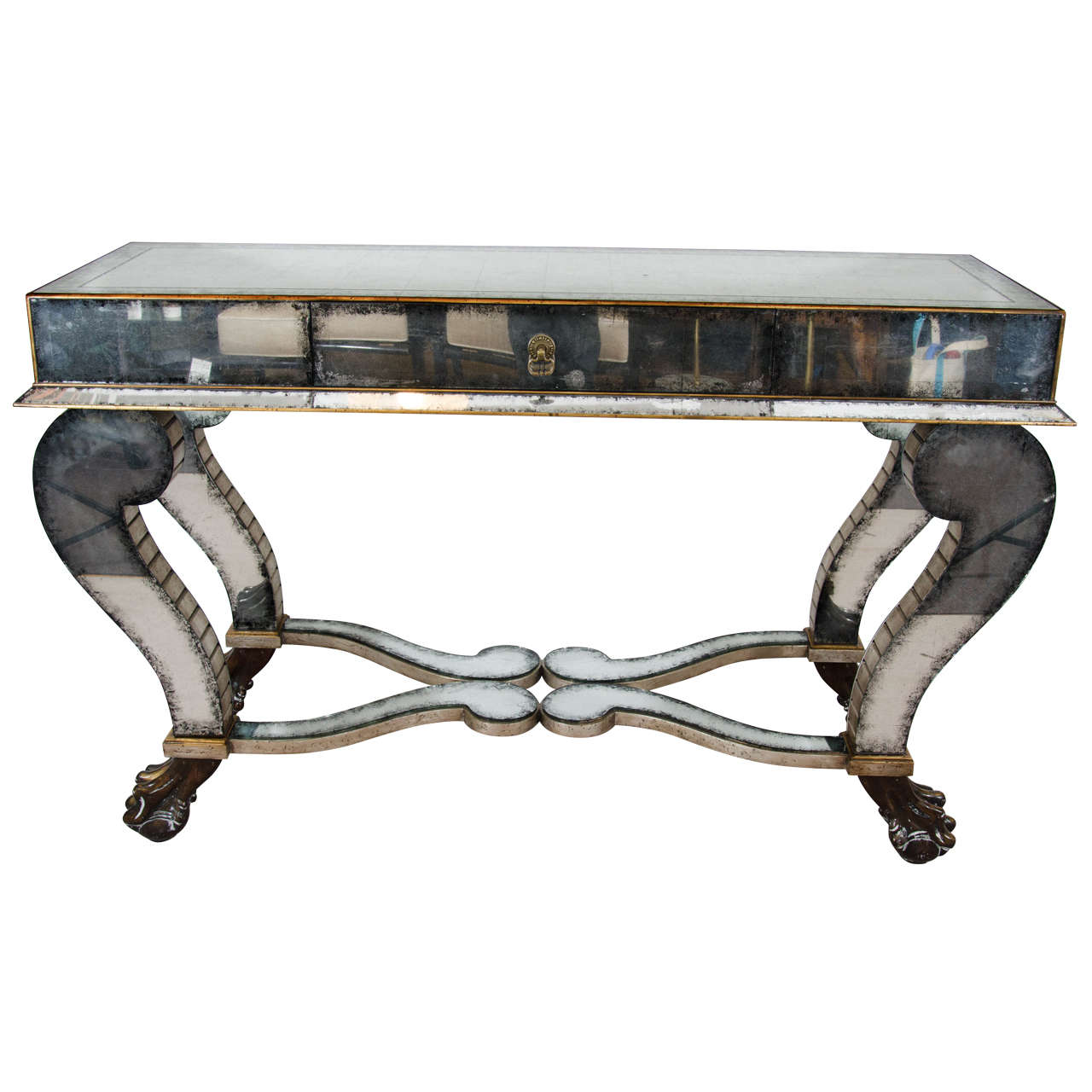 Antiqued Mirrored Console Table With Ball And Claw Feet For