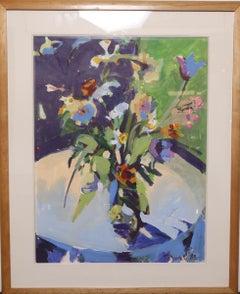 Post Modern Framed Still Life of a Floral Arrangement Signed T. Dooley