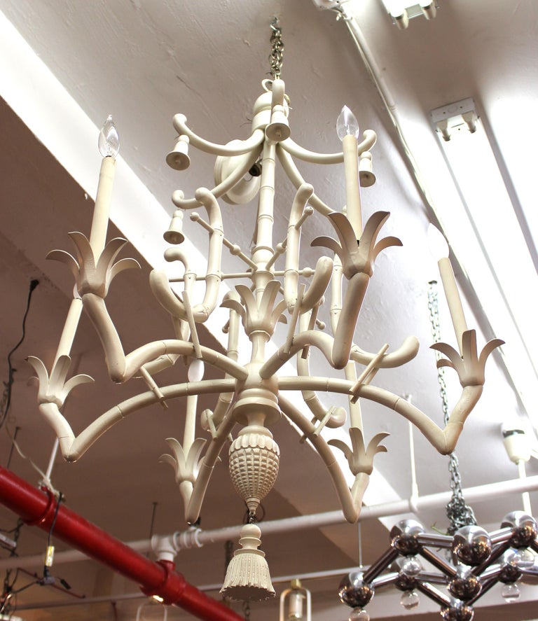 Hollywood regency faux bamboo chandelier for sale at 1stdibs hollywood regency chinese pagoda style faux bamboo chandelier with six arms the decorative theme features aloadofball Images