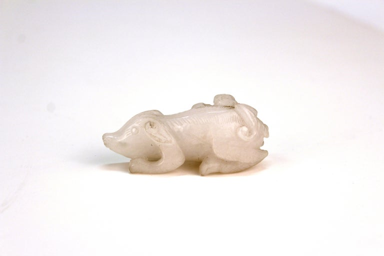 Chinese White Jadeite Sculpture of a Small Pig with Bat In Good Condition For Sale In New York, NY