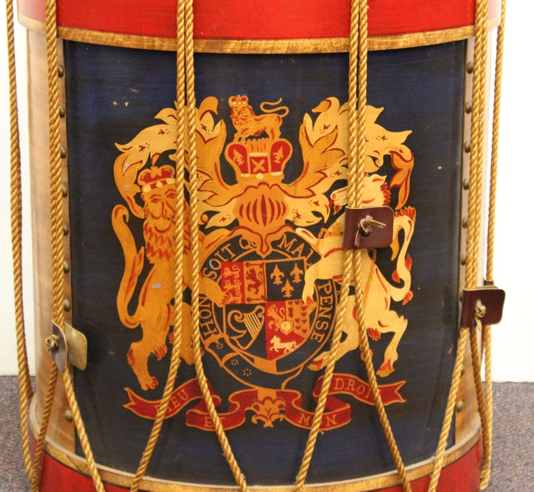 Hand-Painted Hollywood Regency Style Regimental British Drum Side Tables For Sale