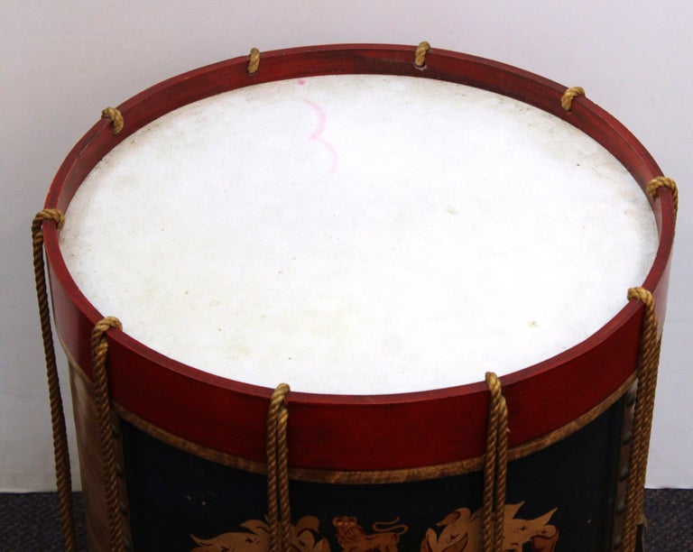 Hollywood Regency Style Regimental British Drum Side Tables In Good Condition For Sale In New York, NY