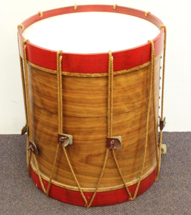Wood Hollywood Regency Style Regimental British Drum Side Tables For Sale