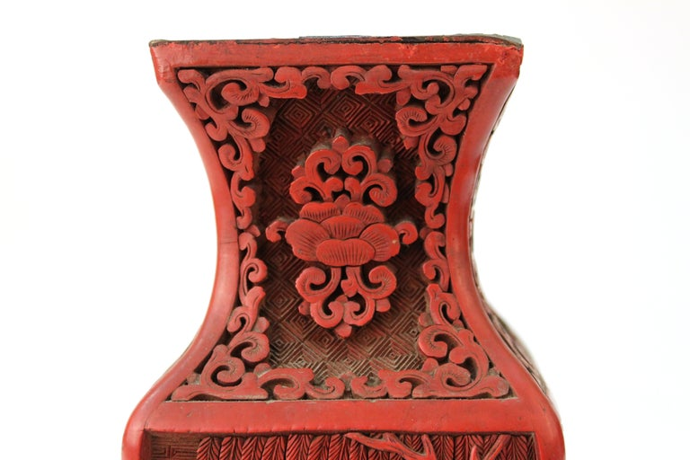 Chinese Cinnabar Lacquer Vase with Carved Scenes For Sale 1