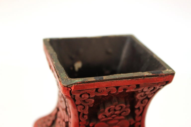 Chinese Cinnabar Lacquer Vase with Carved Scenes For Sale 6