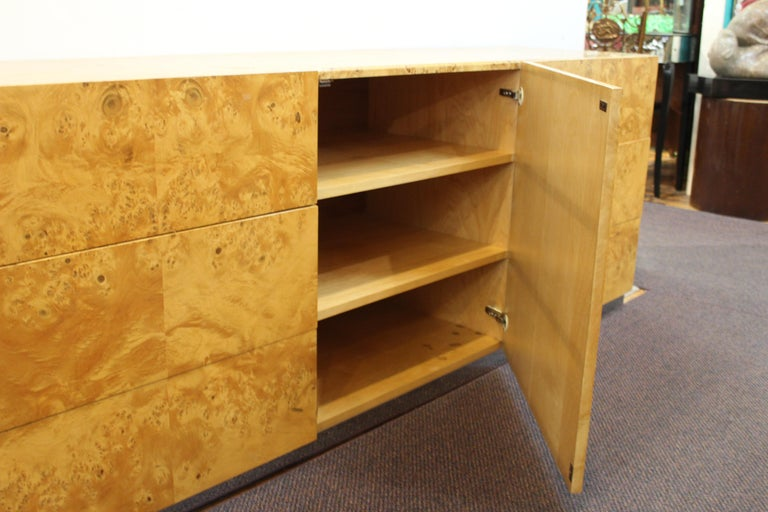 Mid-Century Modern Burlwood Credenza Attributed to Milo Baughman For Sale 4