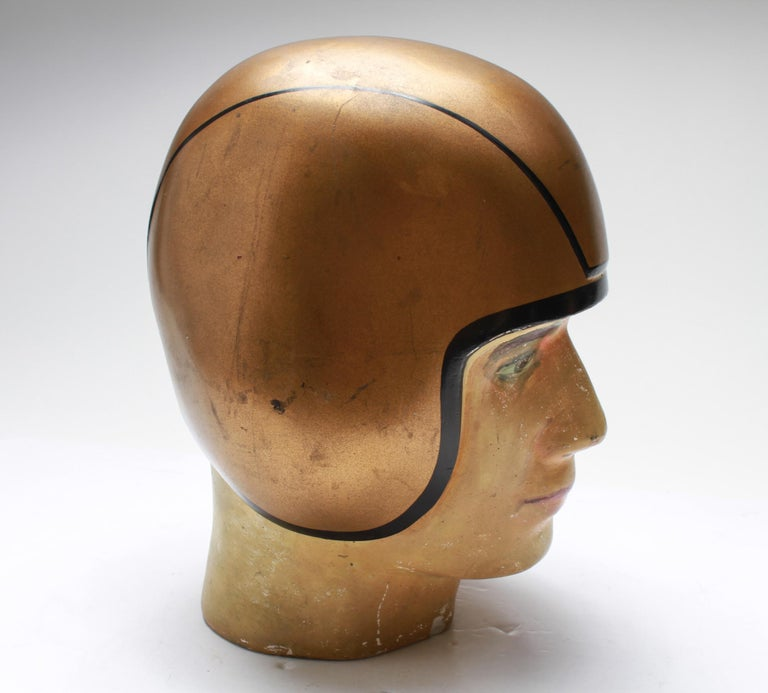 American Folk Art Football Player Bust with Gold-Tone Helmet In Good Condition For Sale In New York, NY