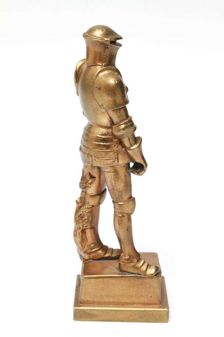 European Josef Muellner WWI Militaria Cast Iron Figure of a Knight in Armor For Sale