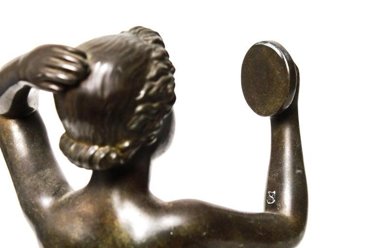 Danish Art Deco Just Andersen Nude Bronze Female Statue Holding Mirror For Sale 1