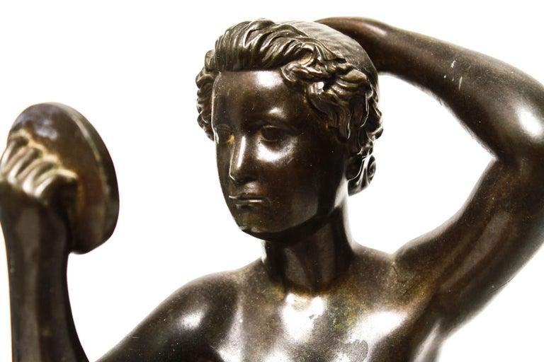 Danish Art Deco Just Andersen Nude Bronze Female Statue Holding Mirror For Sale 2