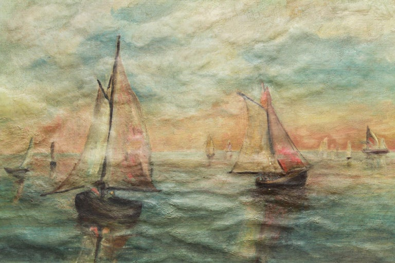 Impressionist style oil on canvas painting depicting a seascape with sailboats. The piece has a hole at the top left and some paint loss to a sailboat on the right, with some cracquelure throughout.