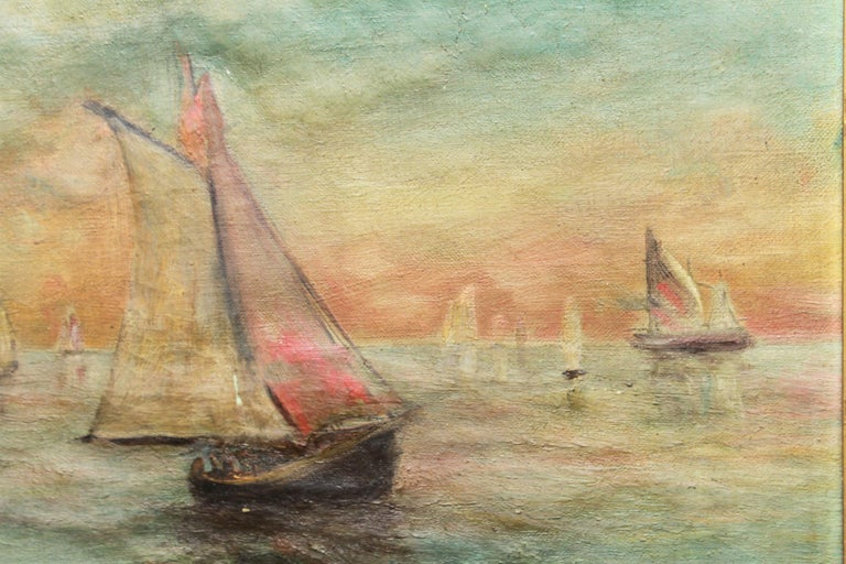 Hand-Painted Impressionist Style Seascape Oil On Canvas Painting For Sale