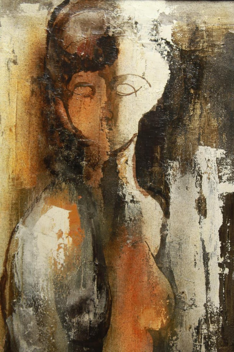 Italian modernist abstract oil on canvas painting by Rino Giacomelli titled 'Figura Feminile', depicting a nude woman. The piece is signed and dated 1963 on the front and titled on the reverse. Framed in a carved wood frame.