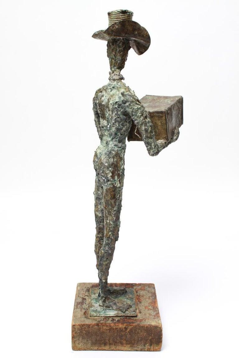 20th Century Mid-Century Modern Brutalist Bronze Cowboy Sculpture For Sale