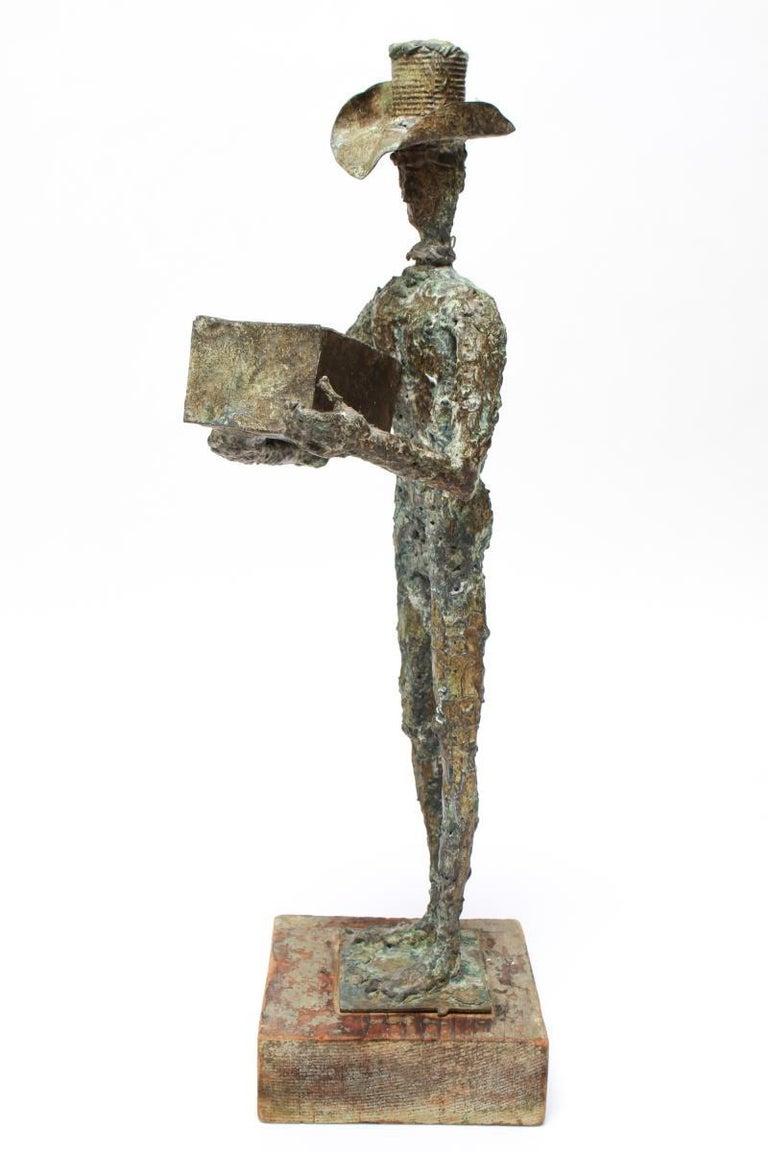American Mid-Century Modern Brutalist Bronze Cowboy Sculpture For Sale