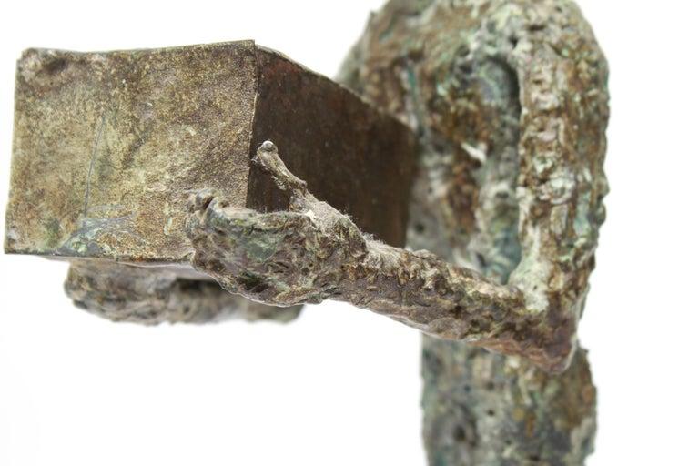 Mid-Century Modern Brutalist Bronze Cowboy Sculpture For Sale 1