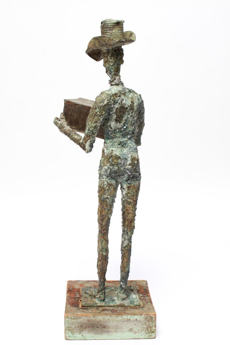 Mid-Century Modern Brutalist Bronze Cowboy Sculpture In Good Condition For Sale In New York, NY