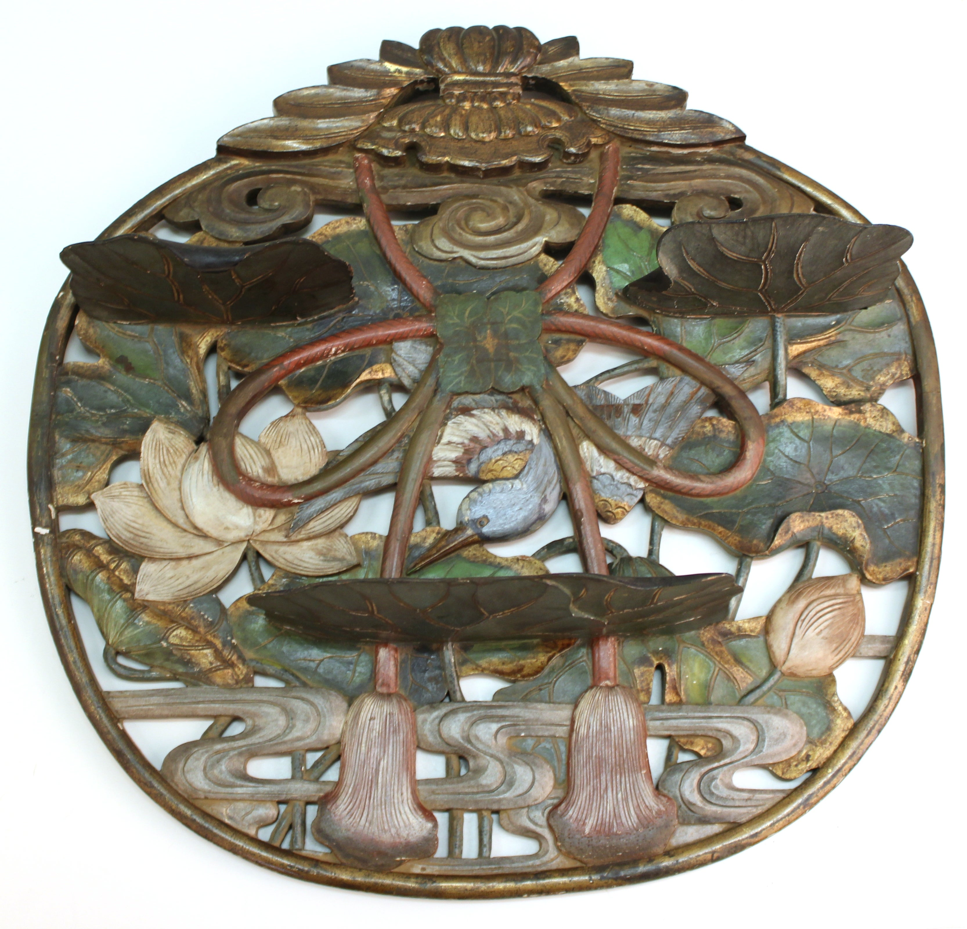 Japanese Edo Period Carved and Painted Wood Plaque