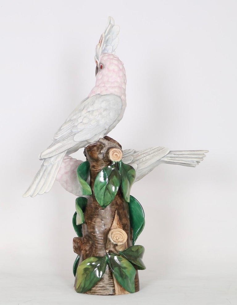 Hollywood Regency Vista Alegre Portuguese Porcelain Parrot Figures In Good Condition For Sale In New York, NY