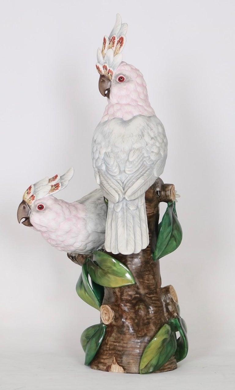 Majolica Hollywood Regency Vista Alegre Portuguese Porcelain Parrot Figures For Sale