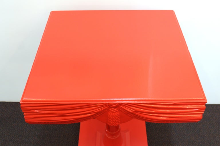 Hollywood Regency Red Side Tables with Sculpted Wood Drapery For Sale 4