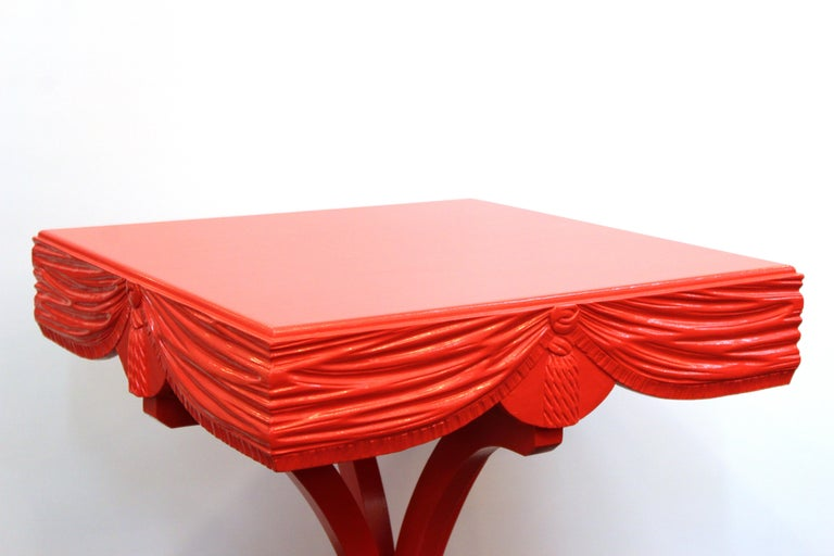 Hollywood Regency Red Side Tables with Sculpted Wood Drapery For Sale 5