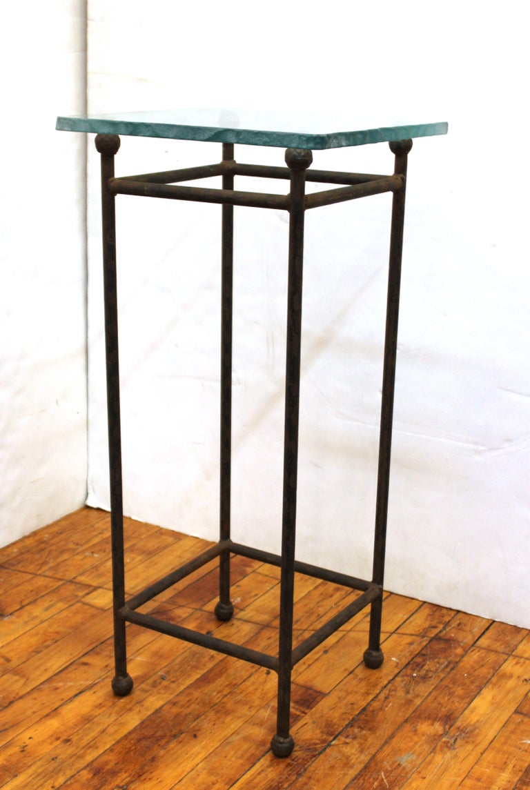 Late 20th Century Modern Minimalist Metal & Glass Side Tables or Pedestals For Sale