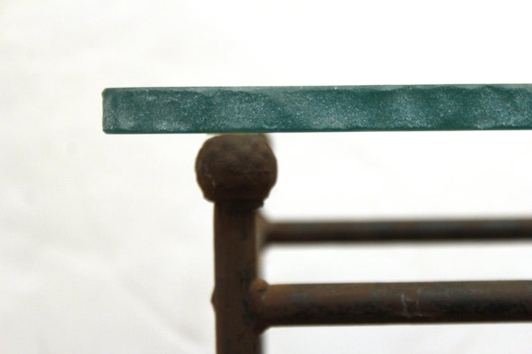 Modern Minimalist Metal & Glass Side Tables or Pedestals For Sale 3