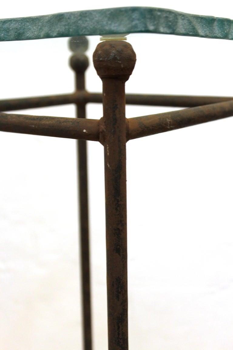 Modern Minimalist Metal & Glass Side Tables or Pedestals For Sale 6